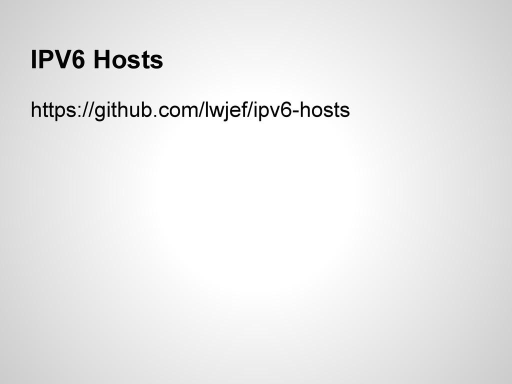 IPV6 Hosts https://github.com/lwjef/ipv6-hosts