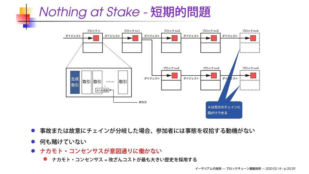 Nothing at Stake - = — — 2020-02-14 – p.20/29