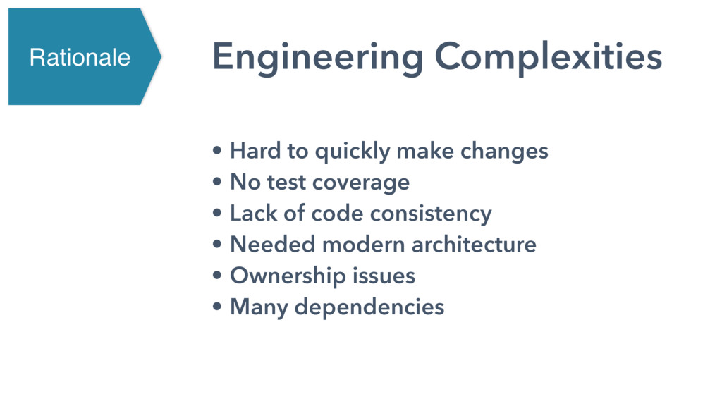 Engineering Complexities • Hard to quickly make...
