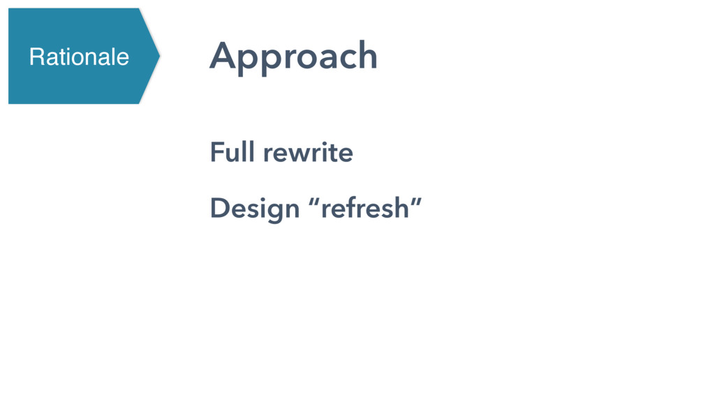 """Approach Full rewrite Design """"refresh"""" Rationale"""