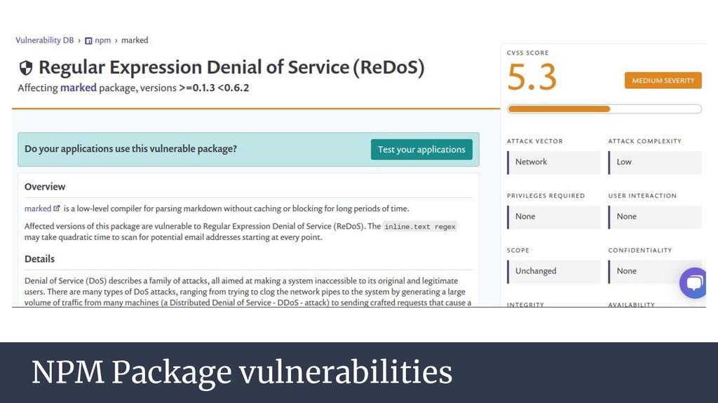 NPM Package vulnerabilities