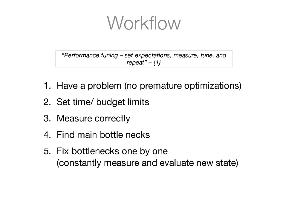 "Workflow ""Performance  tuning  –  set  expectat..."