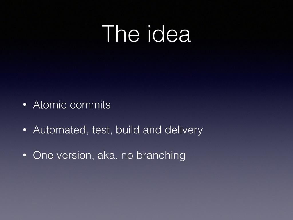 The idea • Atomic commits • Automated, test, bu...