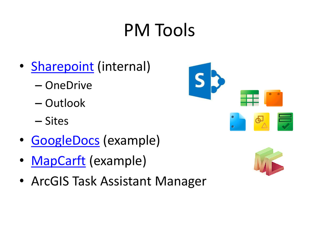 PM Tools • Sharepoint (internal) – OneDrive – O...