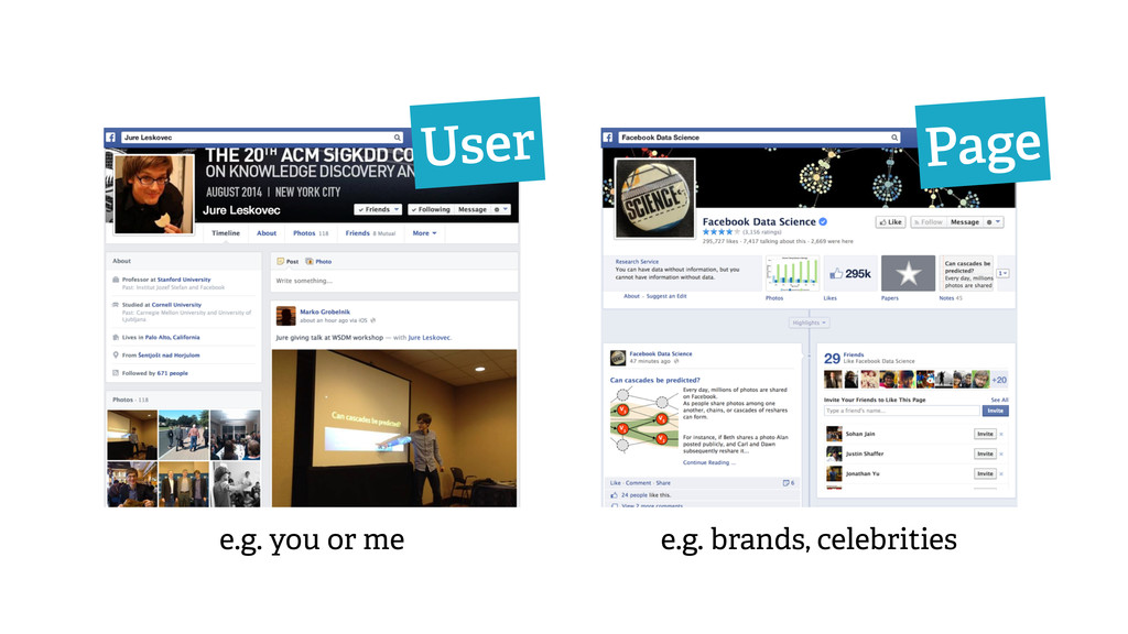 User Page e.g. brands, celebrities e.g. you or ...
