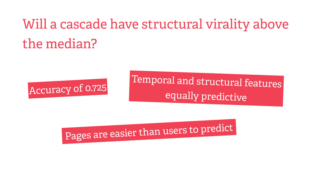 Will a cascade have structural virality above t...