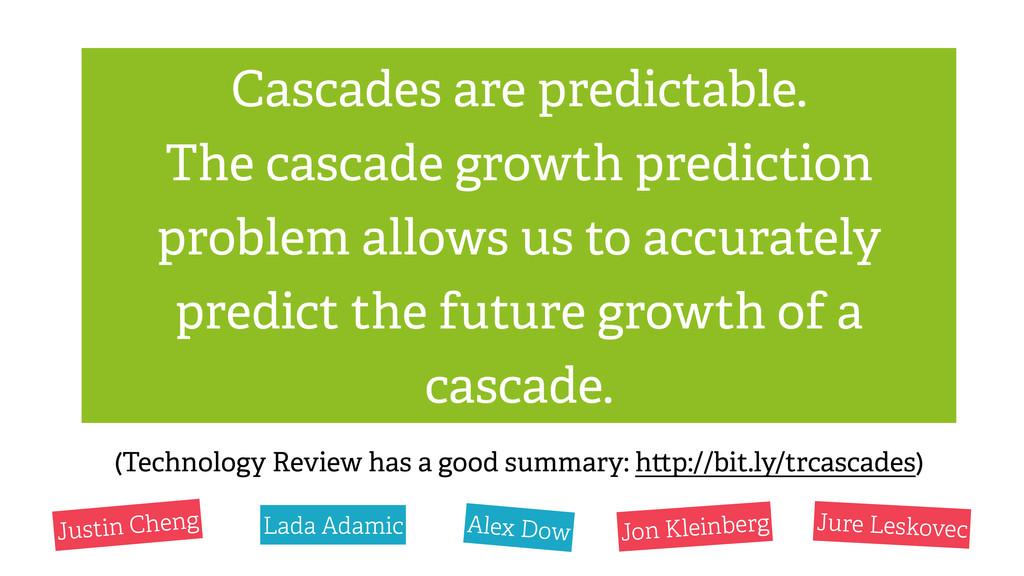 Cascades are predictable. The cascade growth pr...
