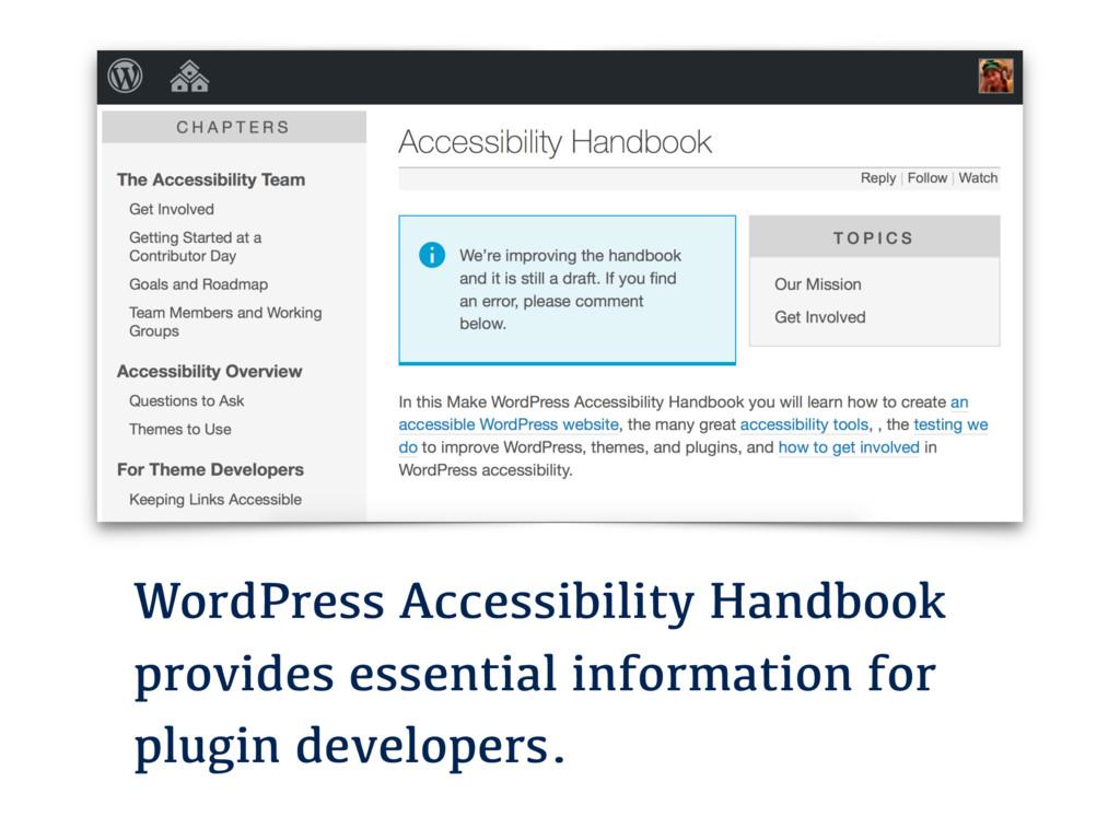 WordPress Accessibility Handbook provides essen...