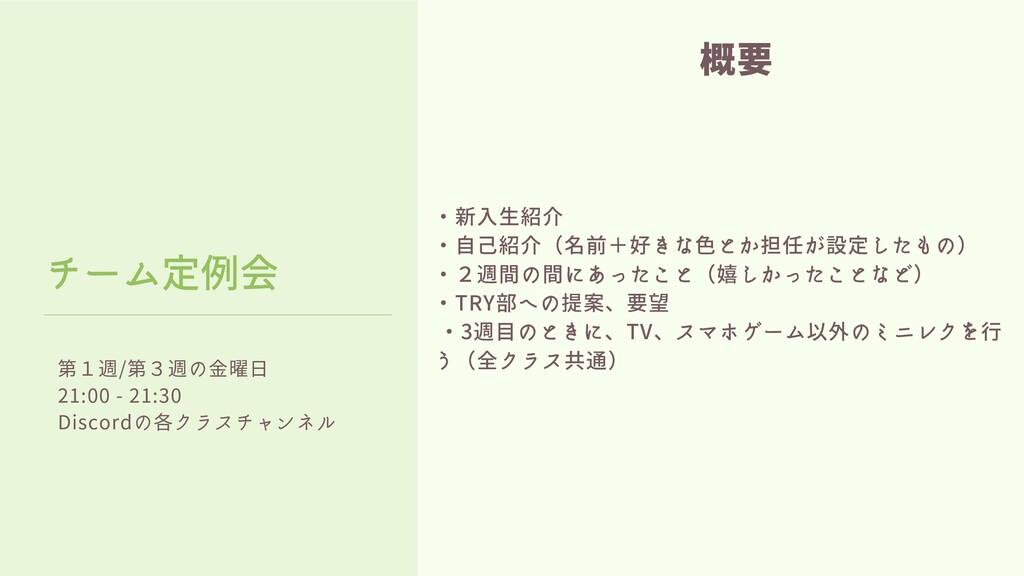 第1週/第3週の金曜日 21:00 - 21:30 Discordの各クラスチャンネル チーム...