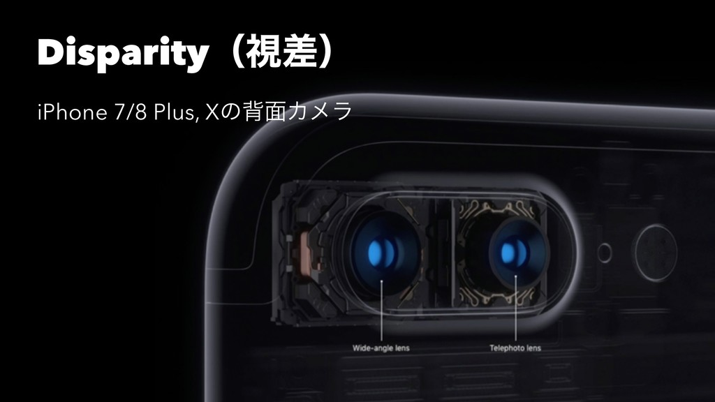 Disparityʢࢹࠩʣ iPhone 7/8 Plus, Xͷഎ໘Χϝϥ