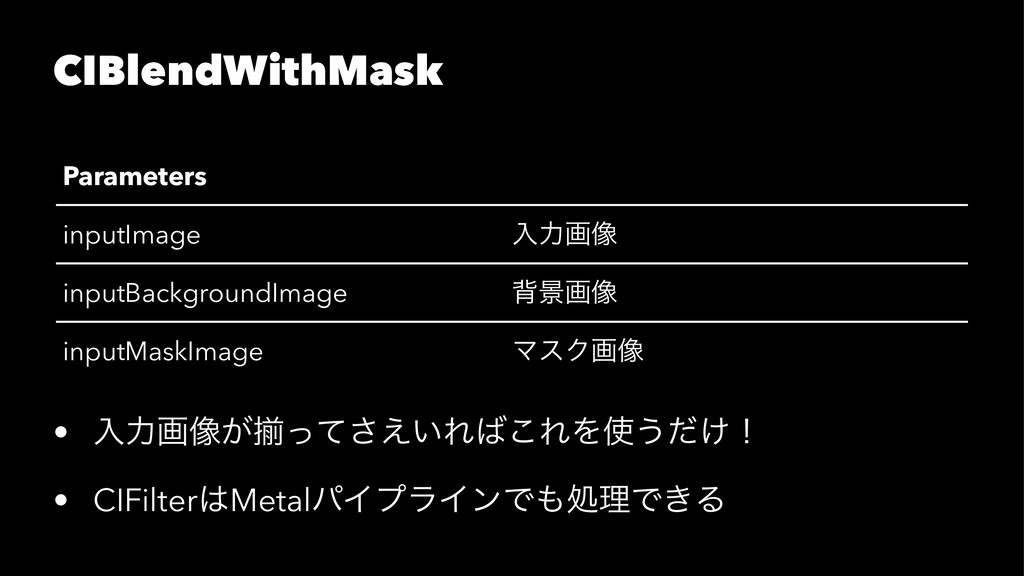 CIBlendWithMask Parameters inputImage ೖྗը૾ inpu...