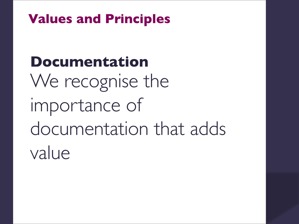 Values and Principles    Documentation  W...