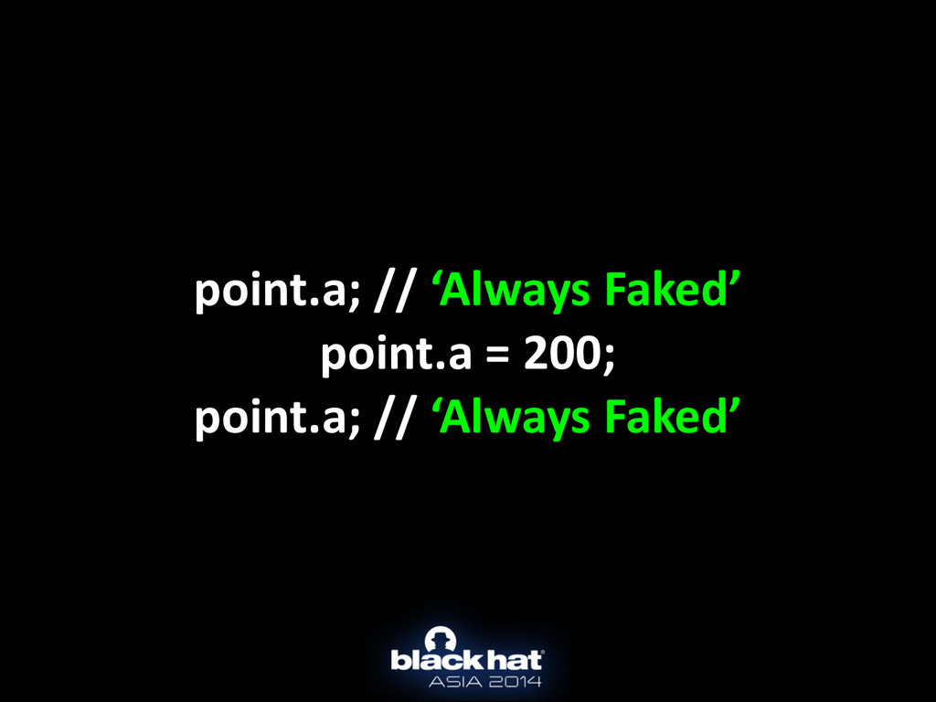 point.a; // 'Always Faked'  point.a...