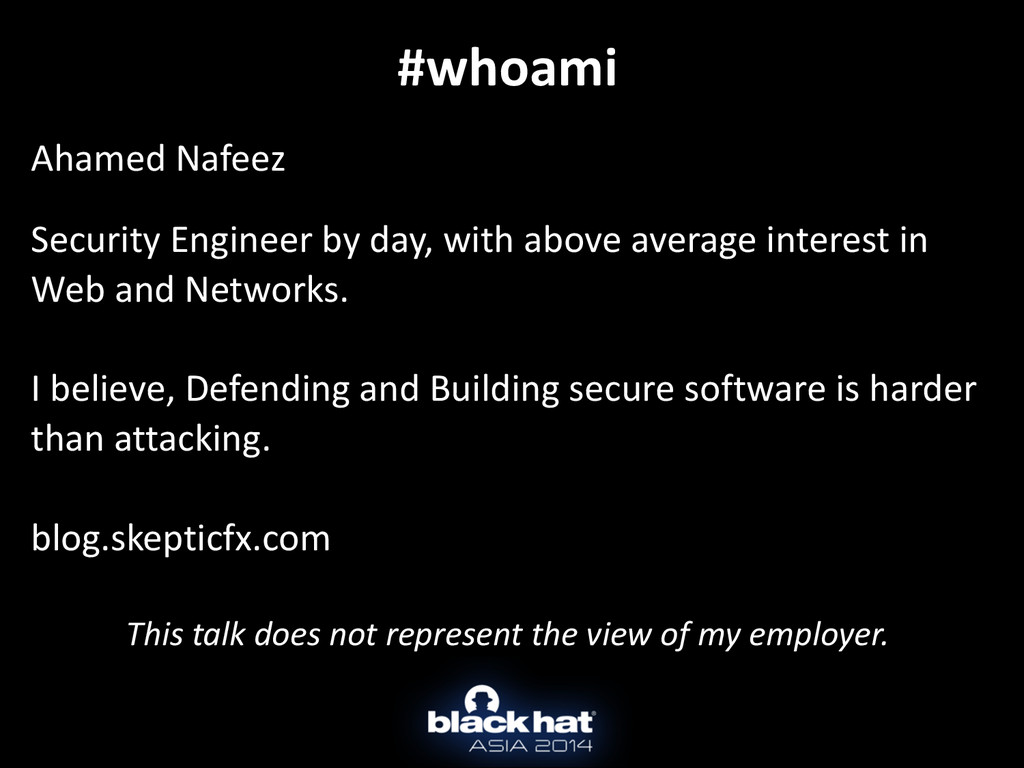 #whoami ! Ahamed	