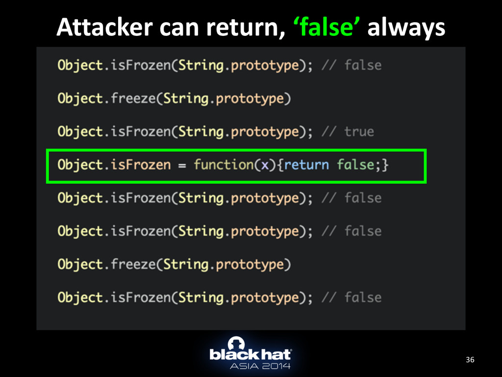 36 Attacker can return, 'false' alw...