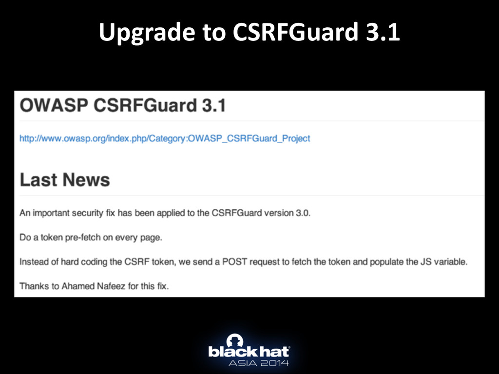 Upgrade to CSRFGuard 3.1