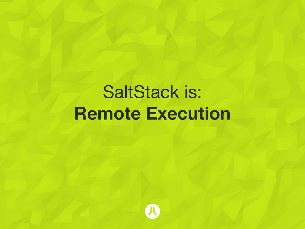 SaltStack is: Remote Execution