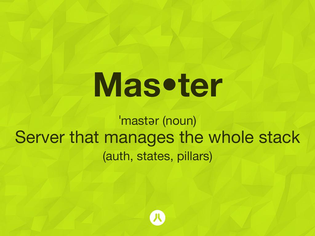 Mas•ter ˈmastər (noun) Server that manages the ...