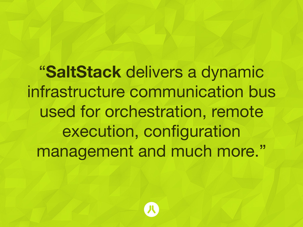 """""""SaltStack delivers a dynamic infrastructure co..."""