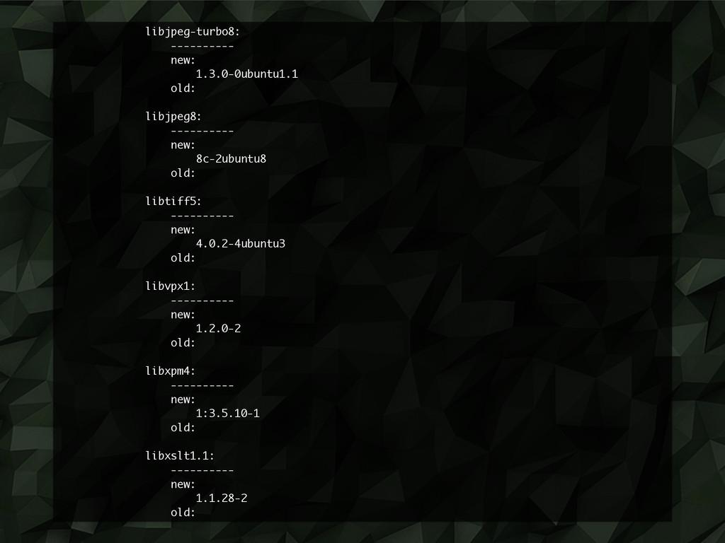 libjpeg-turbo8: ---------- new: 1.3.0-0ubuntu1....
