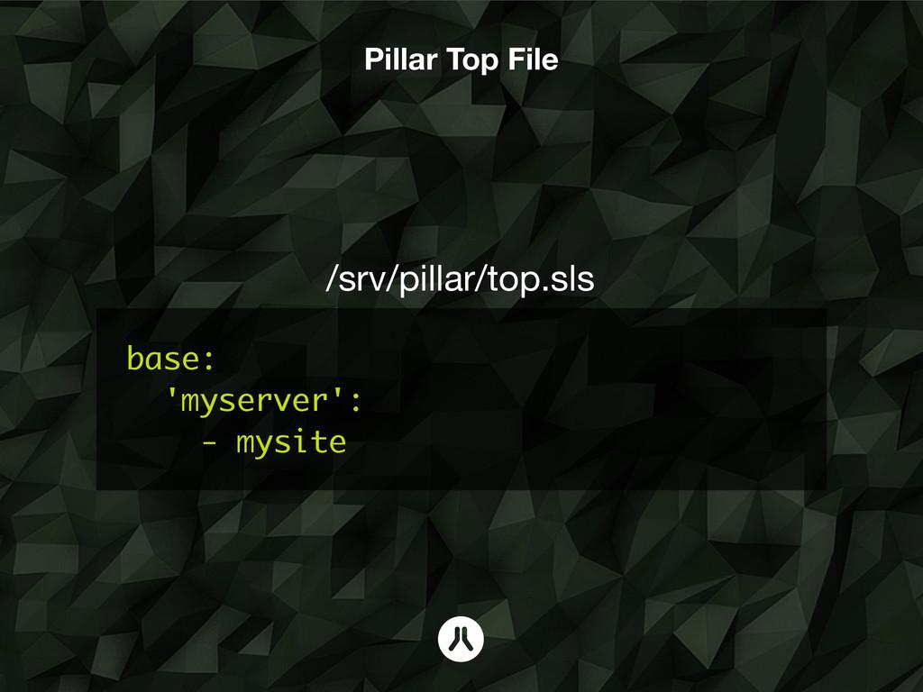base: 'myserver': - mysite /srv/pillar/top.sls ...