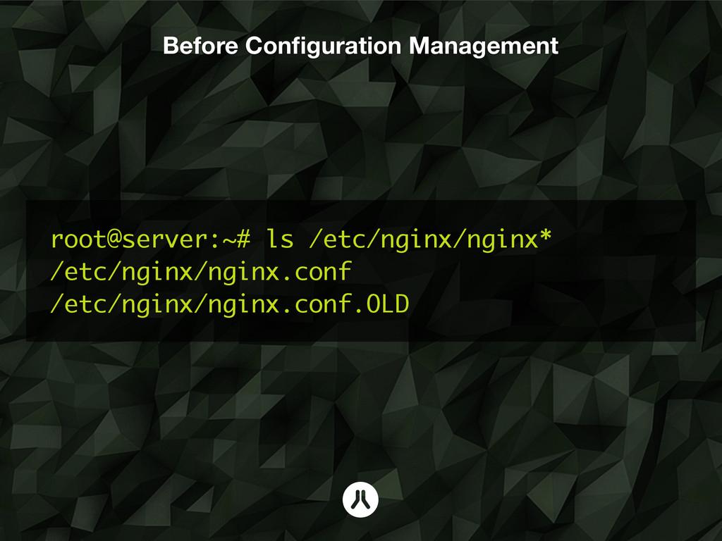 Before Configuration Management root@server:~# l...