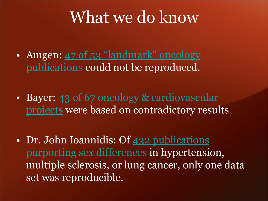 """What we do know • Amgen: 47 of 53 """"landmark"""" on..."""