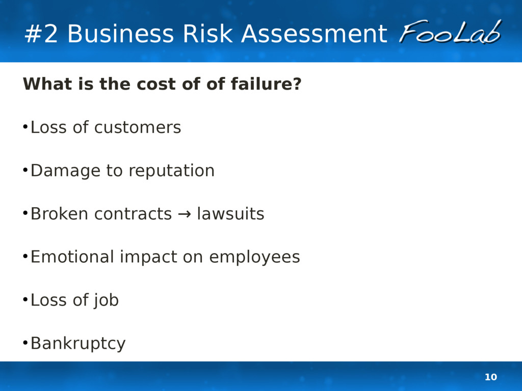 10 #2 Business Risk Assessment What is the cost...