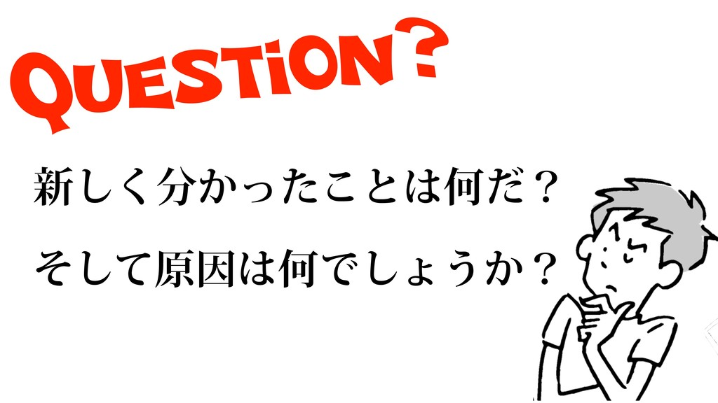 Question? ৽͔ͬͨ͘͜͠ͱԿͩʁ ͦͯ͠ݪҼԿͰ͠ΐ͏͔ʁ
