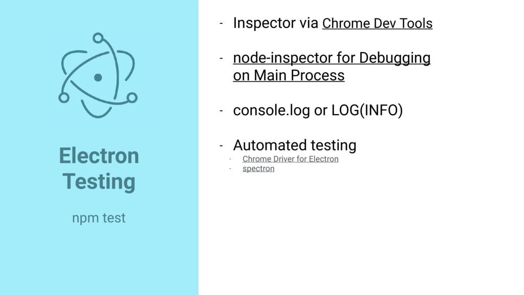 - Inspector via Chrome Dev Tools - node-inspect...