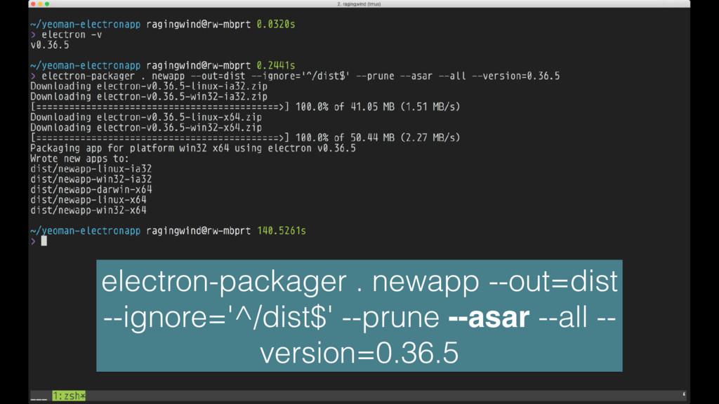 electron-packager . newapp --out=dist --ignore=...