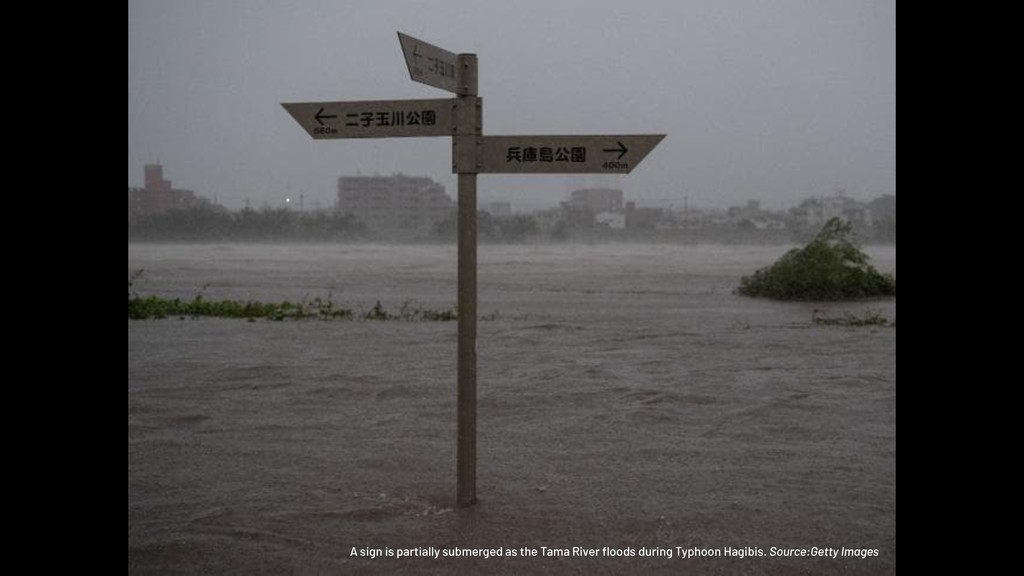 A sign is partially submerged as the Tama River...