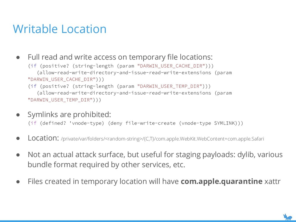Writable Location ● Full read and write access ...
