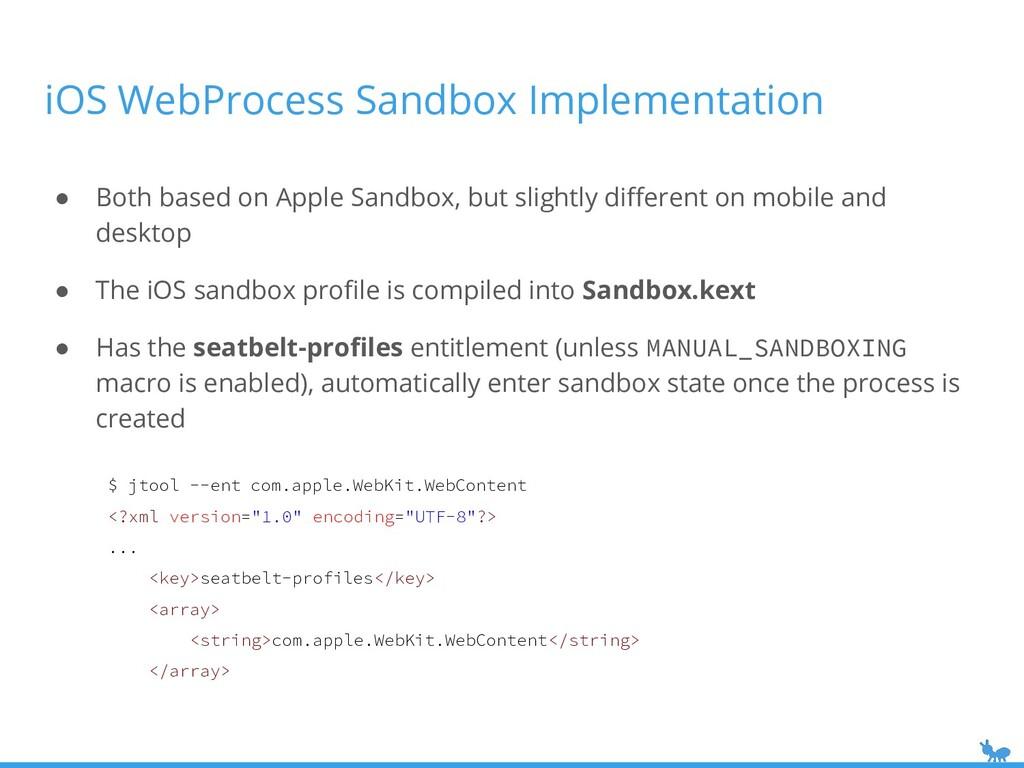 iOS WebProcess Sandbox Implementation ● Both ba...