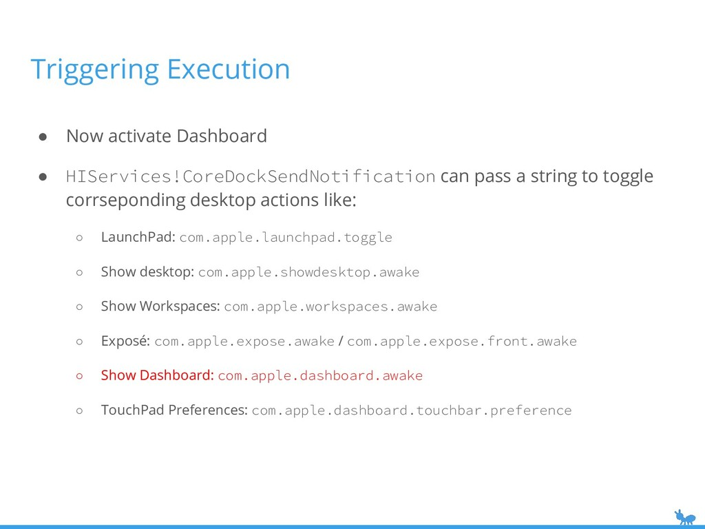 ● Now activate Dashboard ● HIServices!CoreDockS...