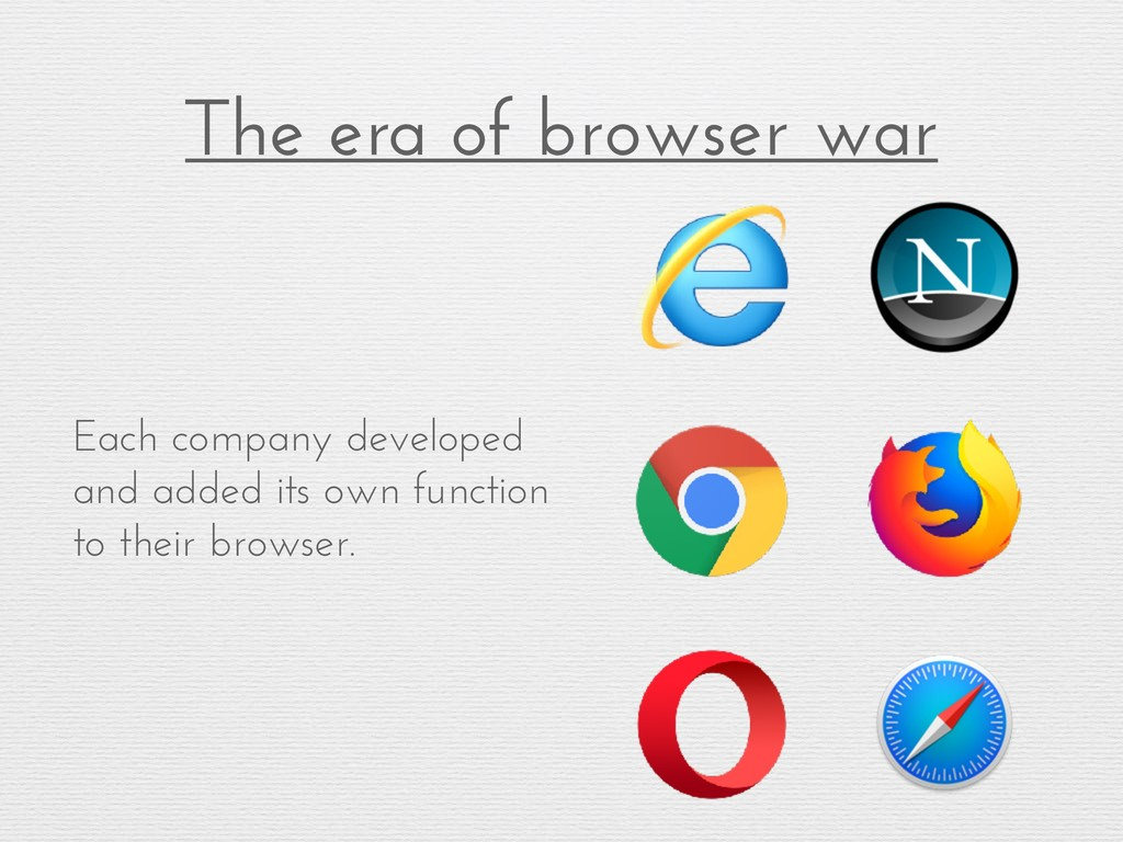 The era of browser war Each company developed a...