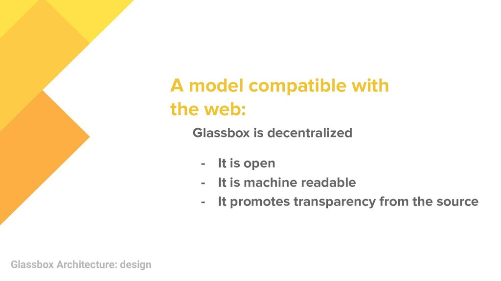 Glassbox Architecture: design Glassbox is decen...