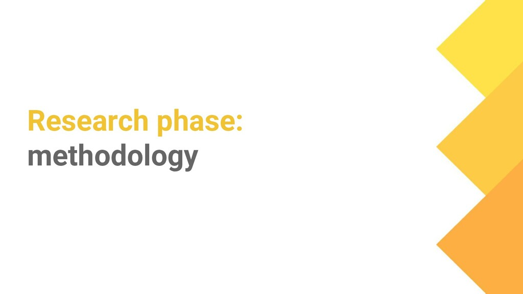 Research phase: methodology
