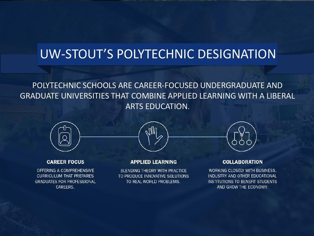 UW-STOUT'S POLYTECHNIC DESIGNATION POLYTECHNIC ...