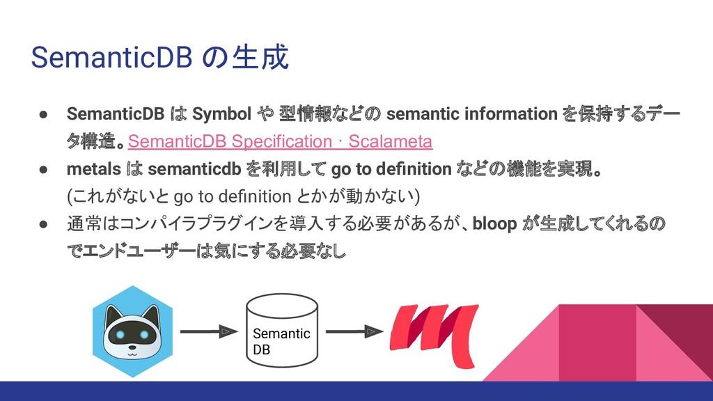 SemanticDB の生成 ● SemanticDB は Symbol や 型情報などの s...