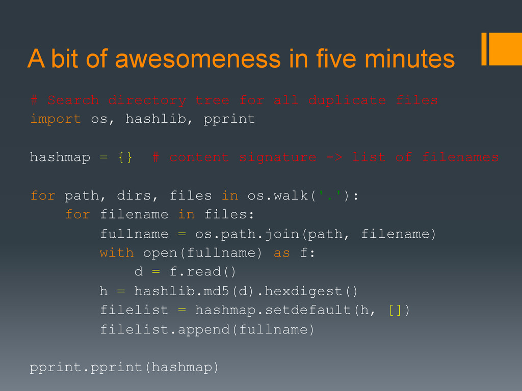 A bit of awesomeness in five minutes # Search d...
