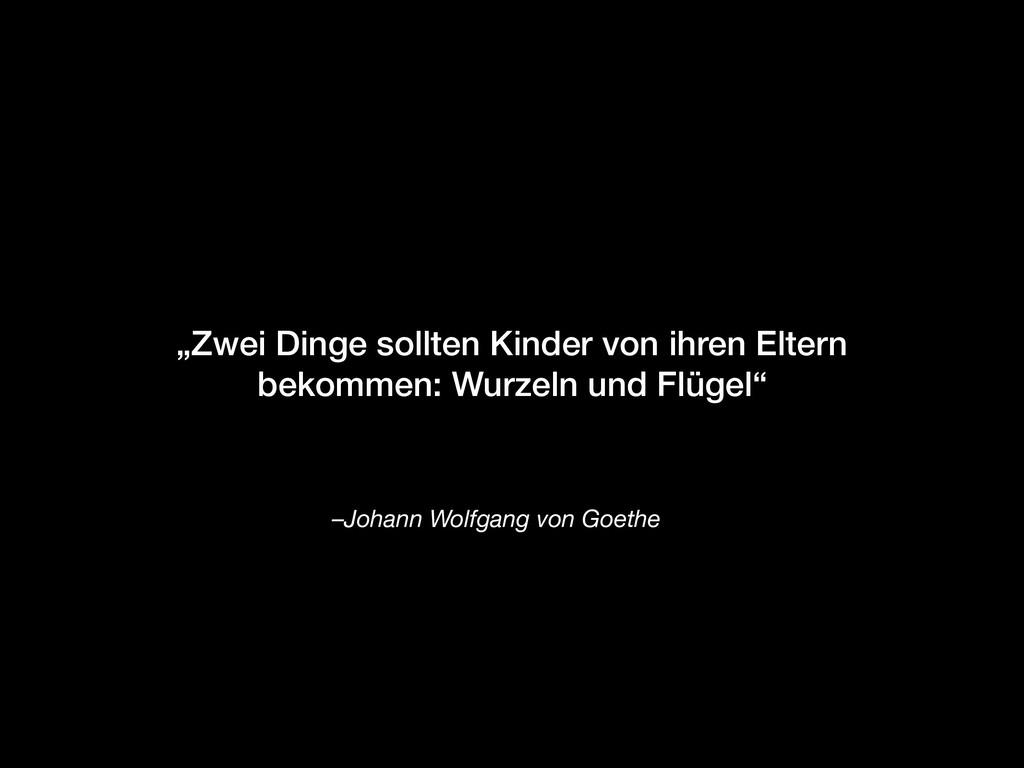 """–Johann Wolfgang von Goethe """"Zwei Dinge sollten..."""