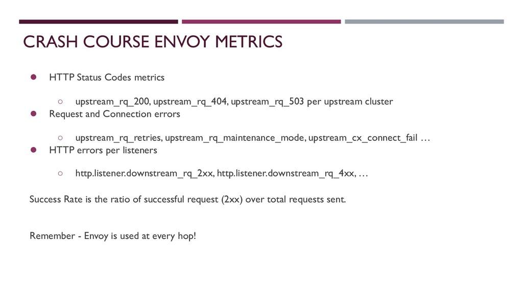 CRASH COURSE ENVOY METRICS ● HTTP Status Codes ...