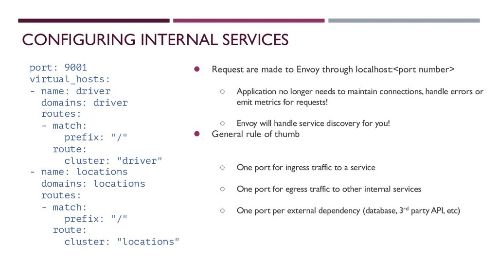 CONFIGURING INTERNAL SERVICES ● Request are mad...