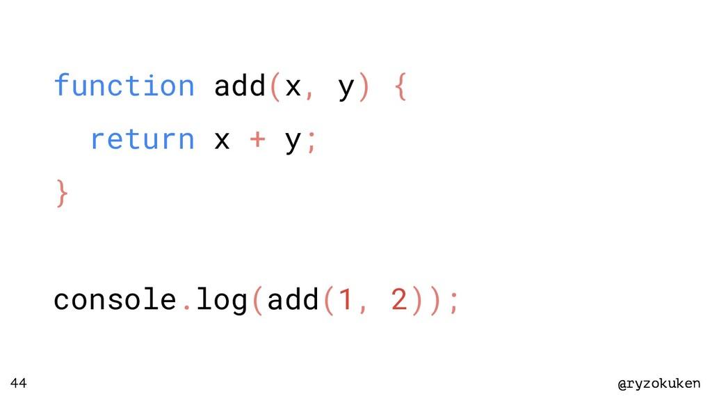 @ryzokuken @ryzokuken 44 function add(x, y) { r...