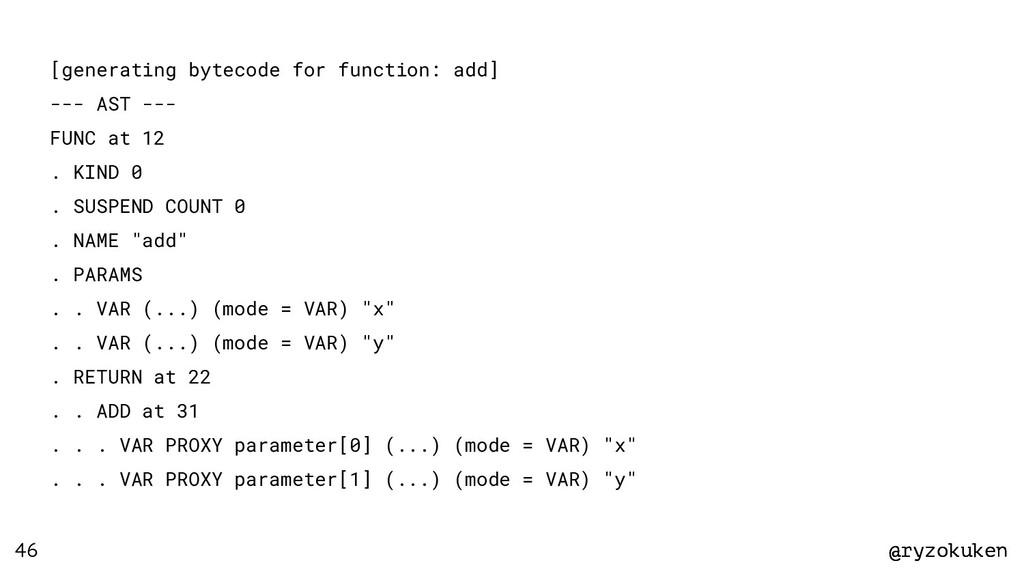 @ryzokuken @ryzokuken 46 [generating bytecode f...