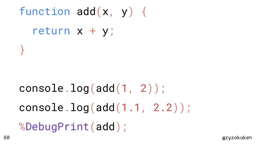 @ryzokuken @ryzokuken 80 function add(x, y) { r...