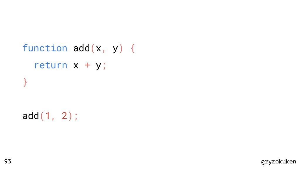 @ryzokuken @ryzokuken 93 function add(x, y) { r...