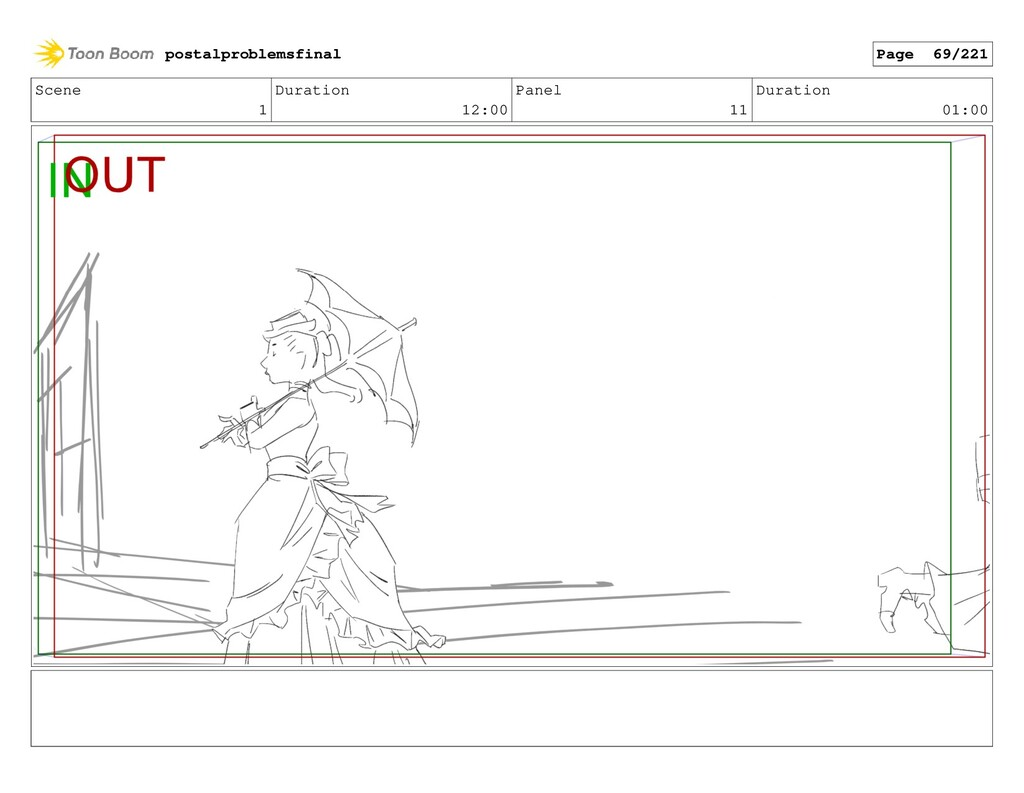 Scene 1 Duration 12:00 Panel 11 Duration 01:00 ...